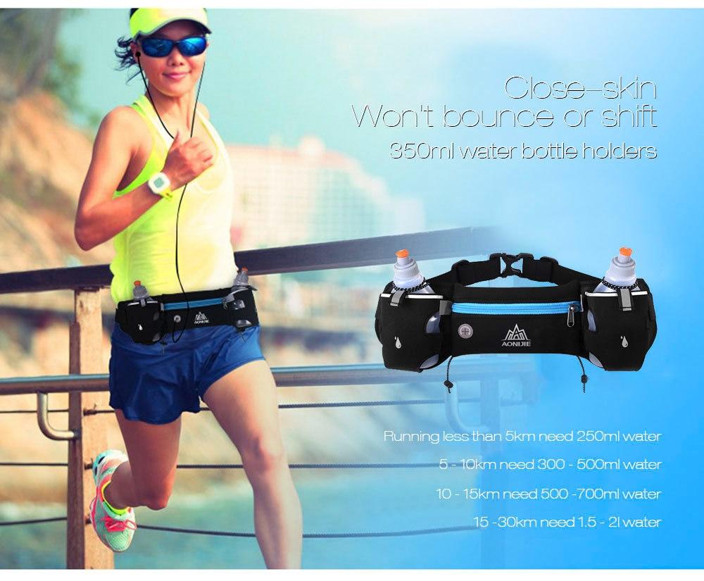 Buy Aonijie Outdoor Sports Water Resistant Walking Running Bag Belt Waist Blue Green Pack With 2 Bottle Holders
