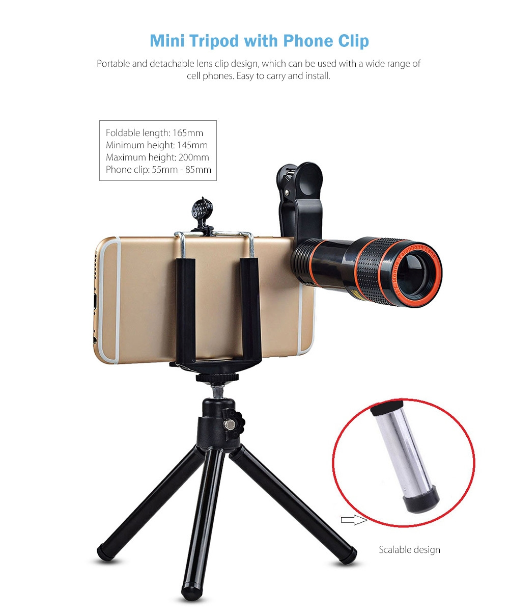 APEXEL APL - HS12XDG3ZJ 12X Zoom Telephoto + 0.63X Wide Angle + 198 Degree Fisheye + 15X Macro Lens + Tripod 5 in1 Clip External Phone Camera