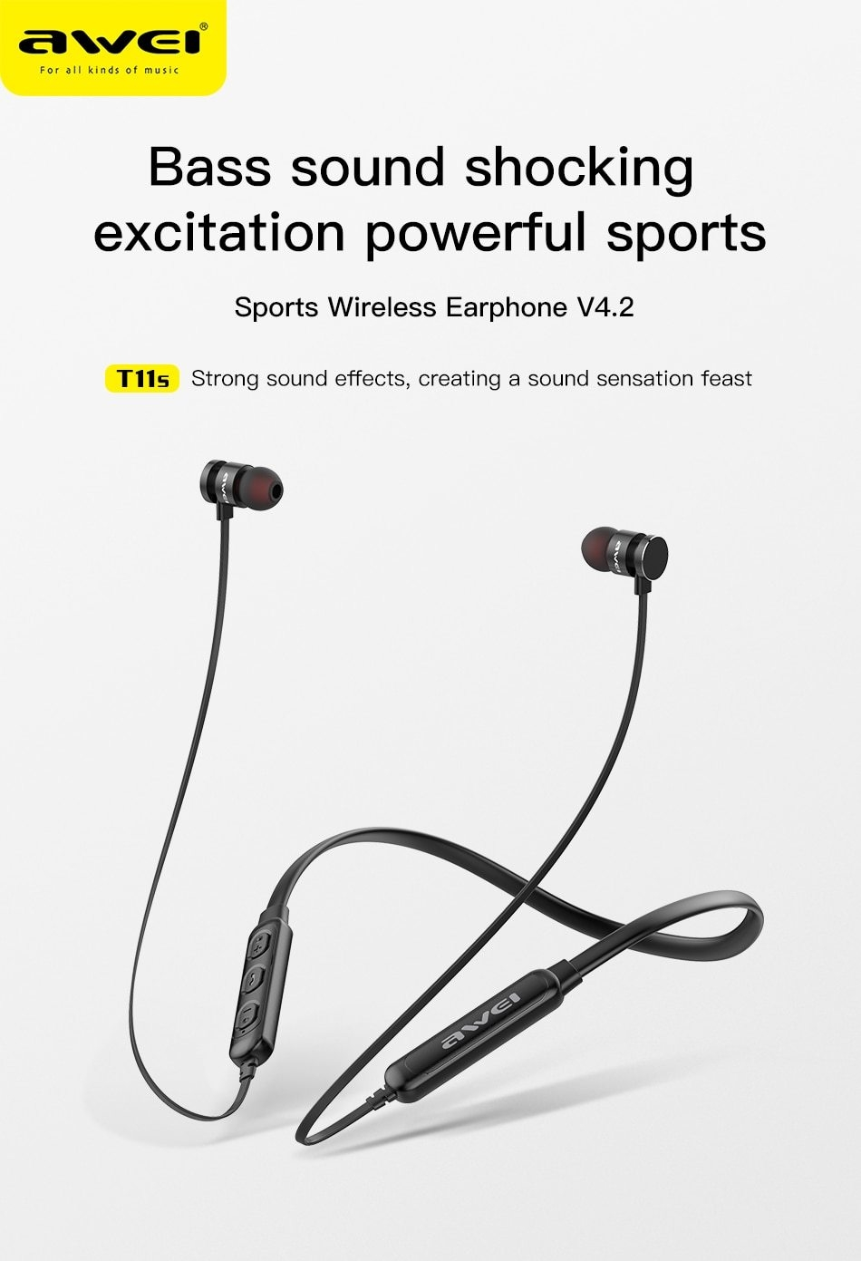 Awei AWEI T11S Bluetooth Earphone Headset Wireless Headphone
