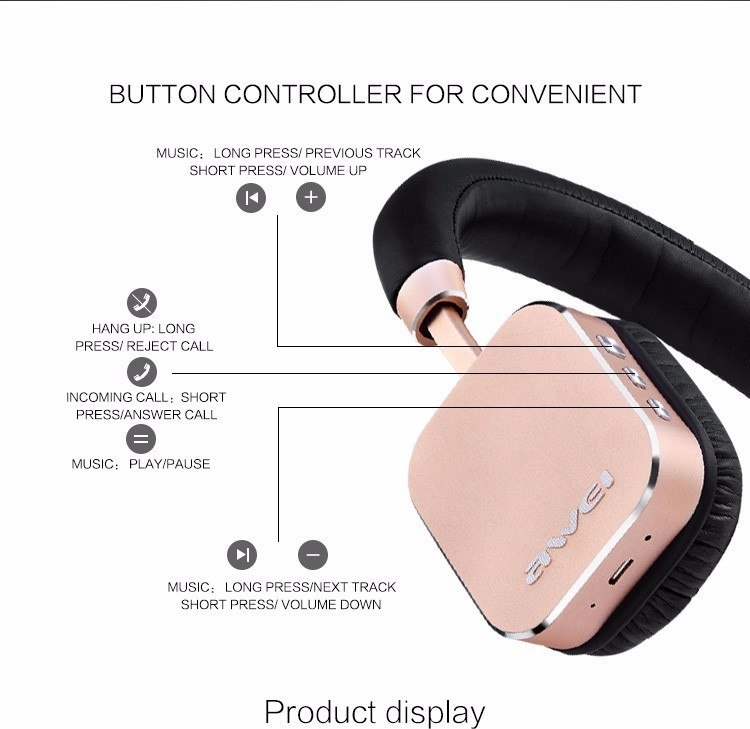 A900BL Bluetooth Wireless Sports Headset With Microphone(Gold)