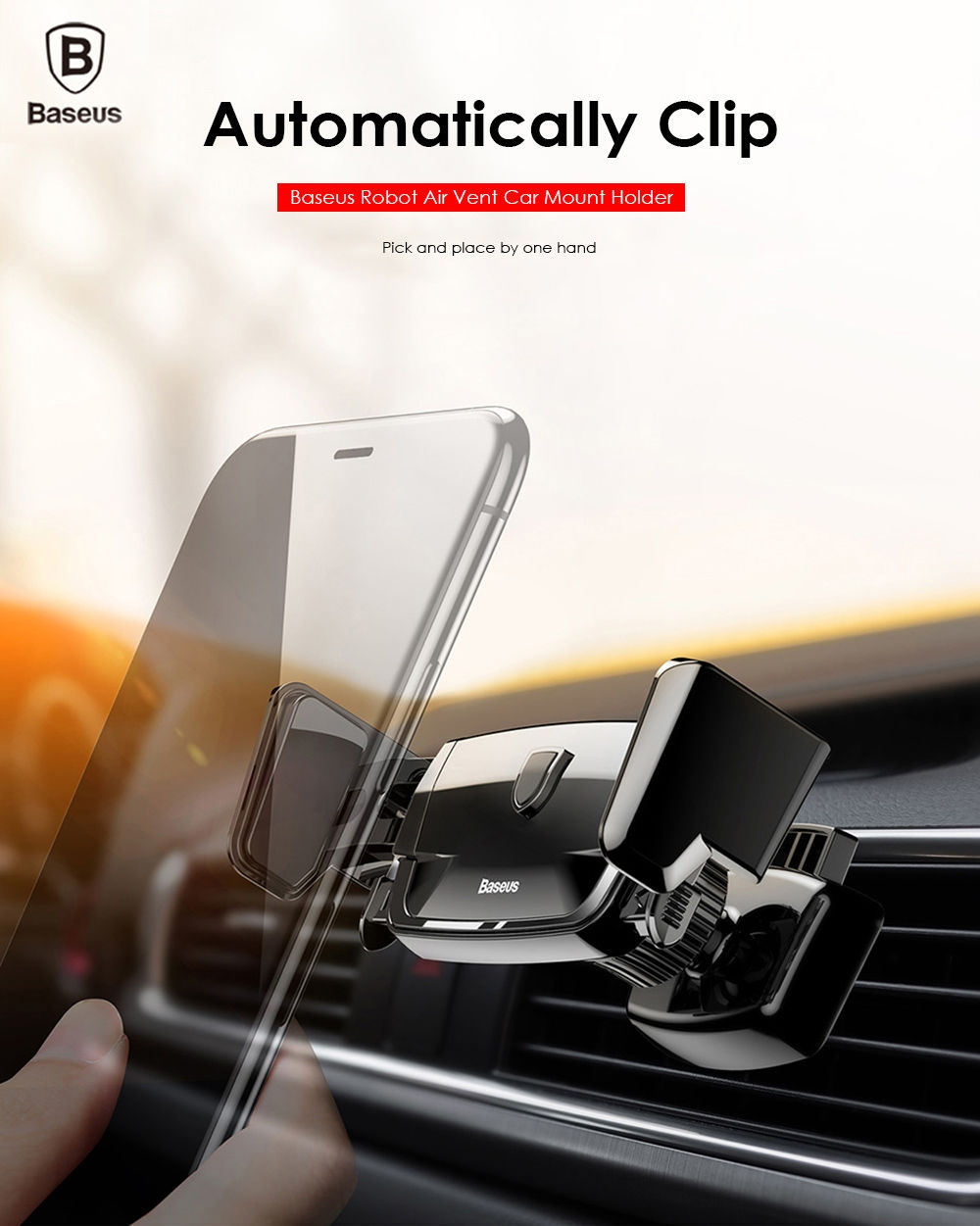 Robot Air Vent Car Mount Phone Holder Auto Clip Stand ...
