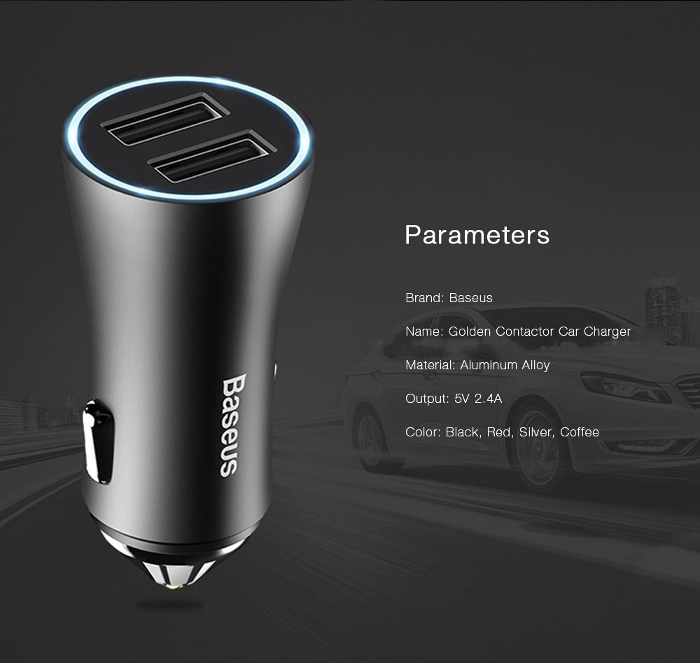 Baseus Golden Contactor 2.4A  Dual USB Intelligent Car Charger