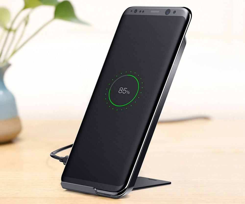 Baseus WiC1 Multifunctional Qi Wireless Charging Pad Dual Coil Charger with Desktop Holder for iPhone X / Samsung Galaxy S8+ / S8
