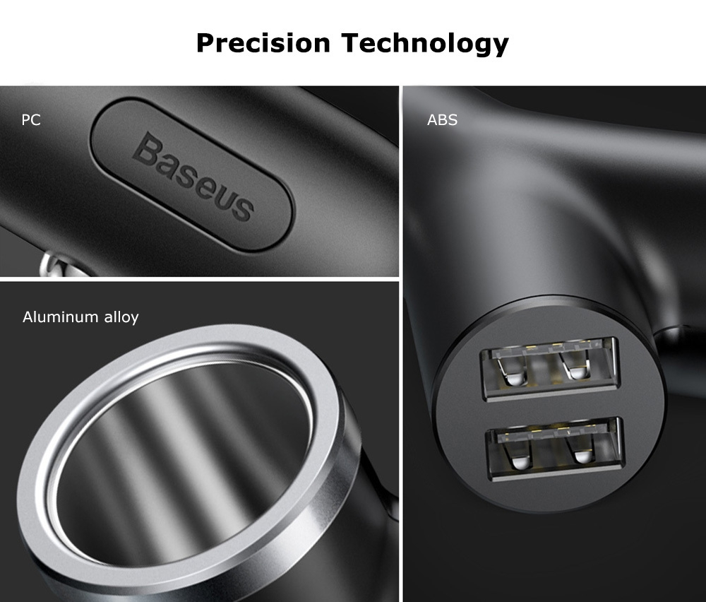 Baseus Y-shape Dual USB Car Charger with Cigarette Extended Port