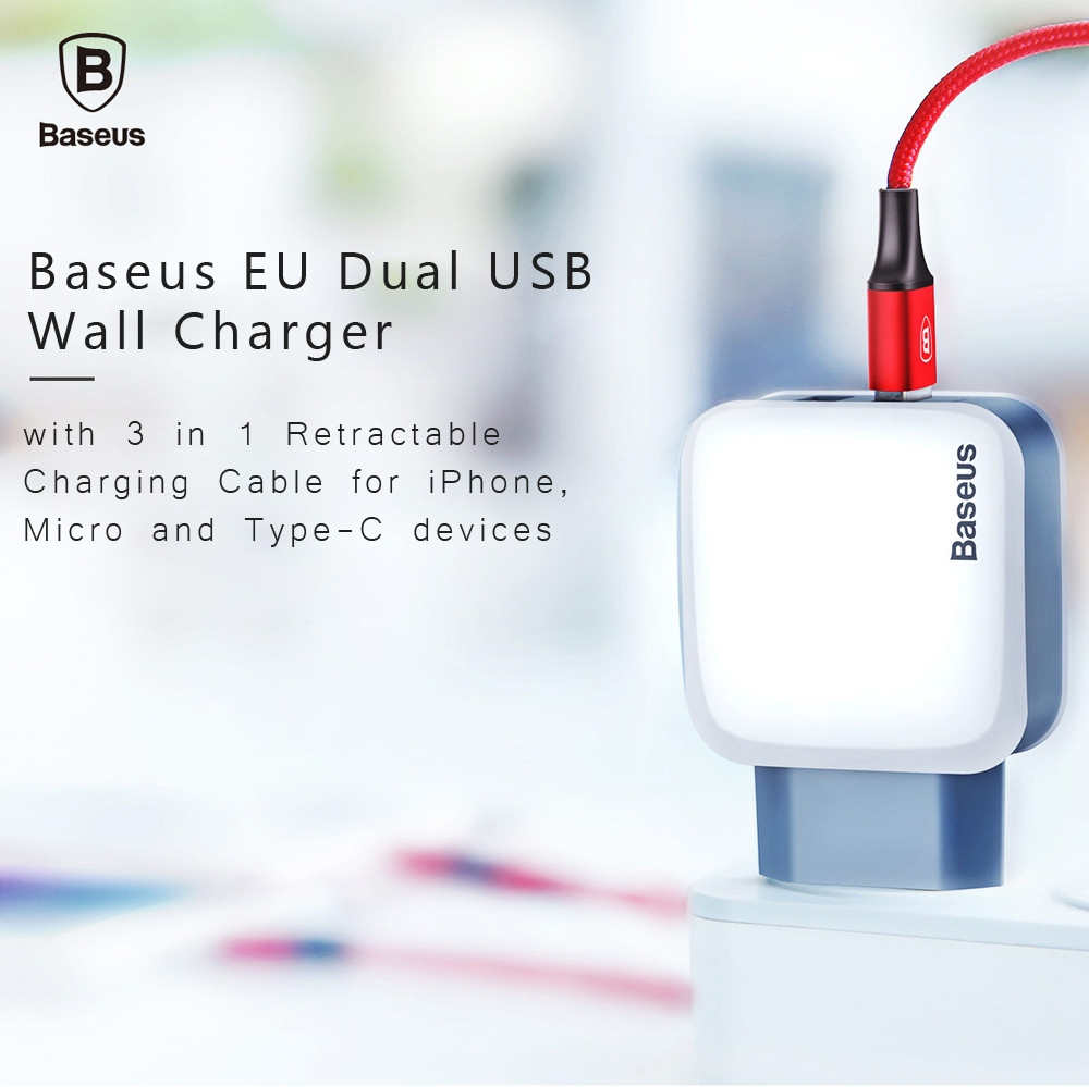 Baseus EU Dual USB Wall Charger with 3 in 1 Retractable Charging Cable for iPhone Micro and Type-C devices