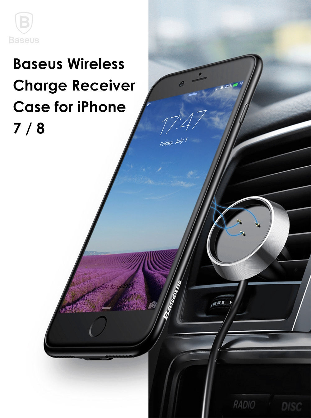 Baseus 5V 1A Multi-function Wireless Charge Receiver Case for iPhone 7 / 8