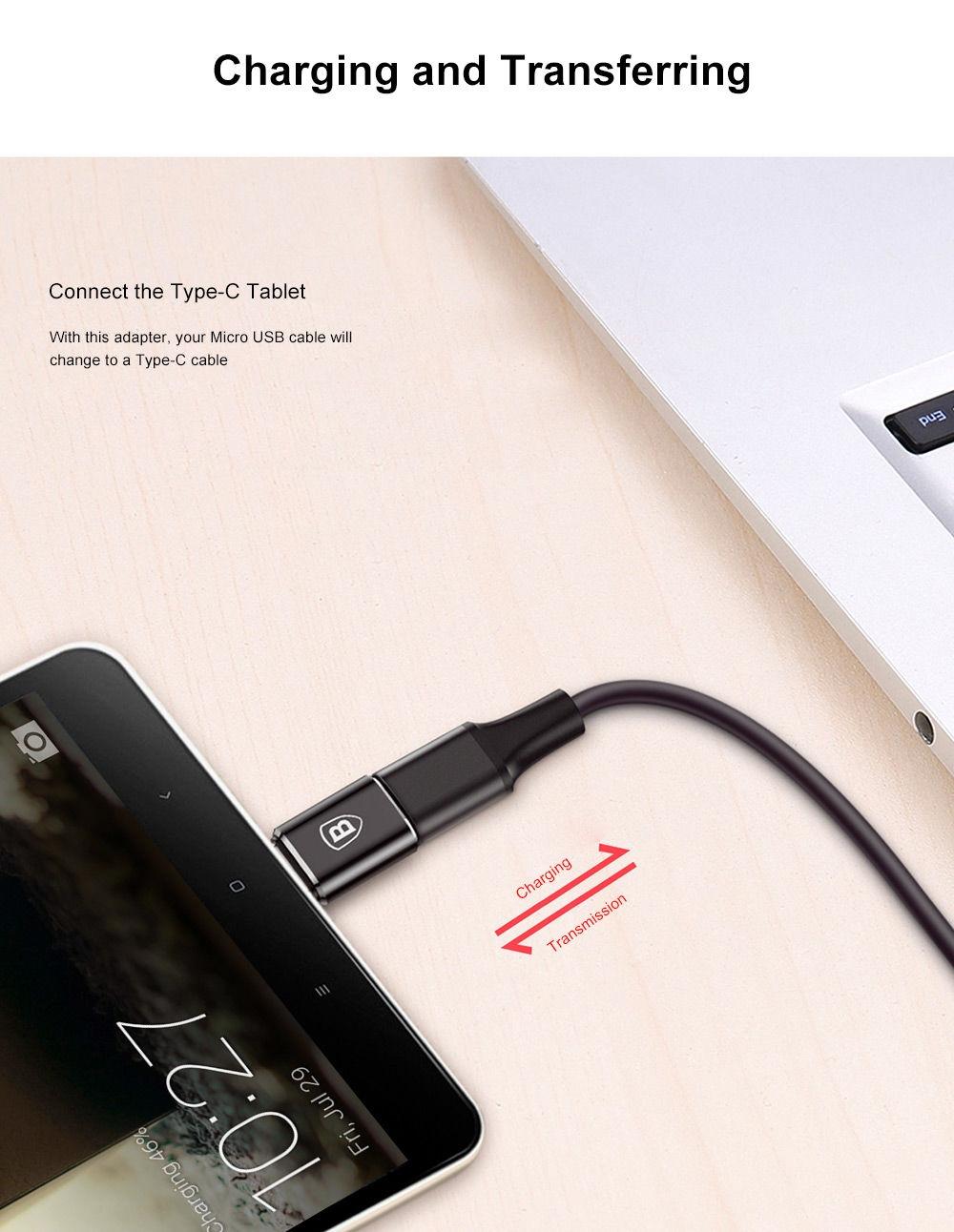 Baseus Mini OTG Male Type-C to Female Micro USB Converter Charging Data Adapter