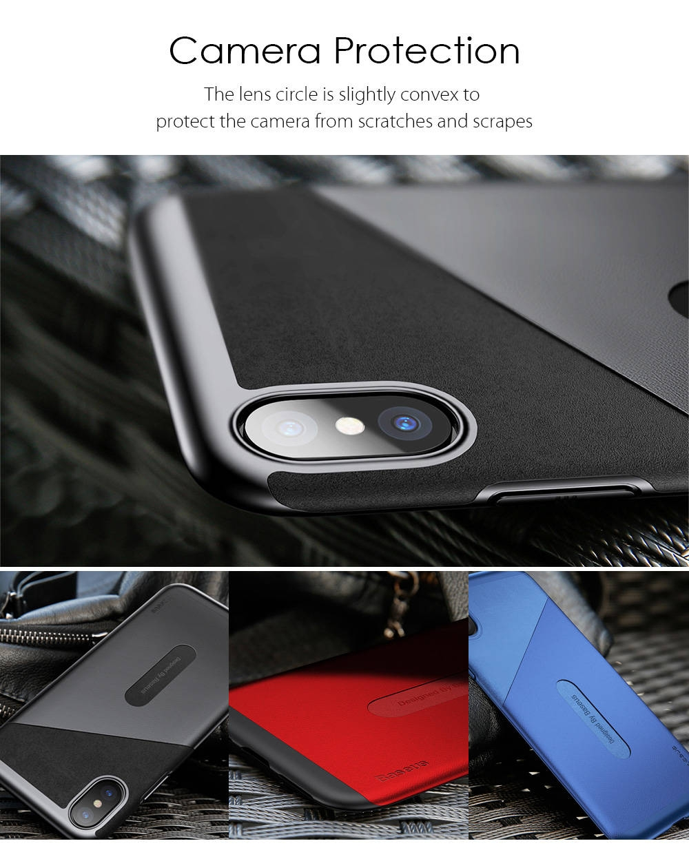 Baseus Card Pocket Case Wallet Back Cover Protective Shell for iPhone X