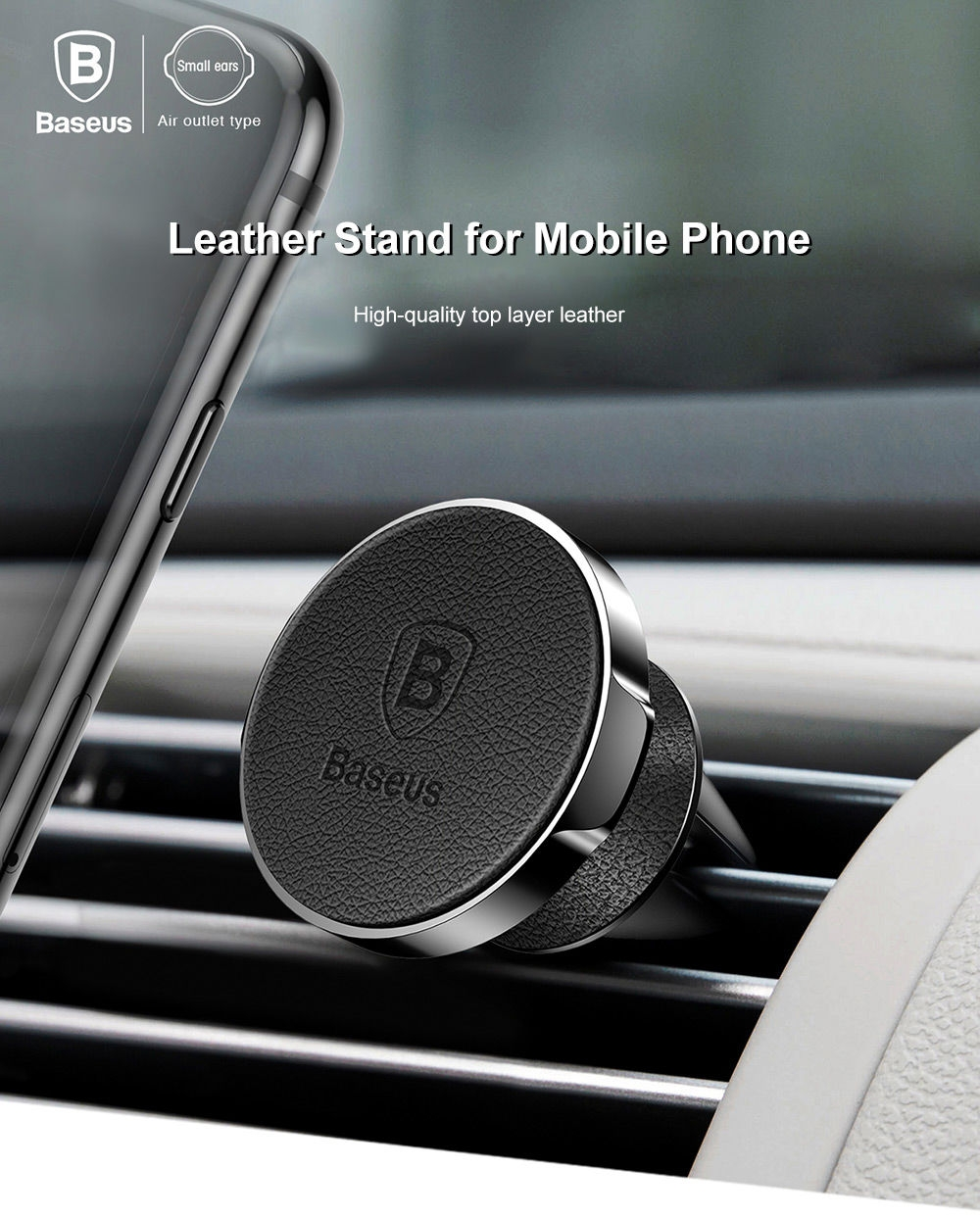 Baseus Small Ears Series Magnetic Suction Bracket Phone Holder Genuine Leather ( Air Outlet Type )