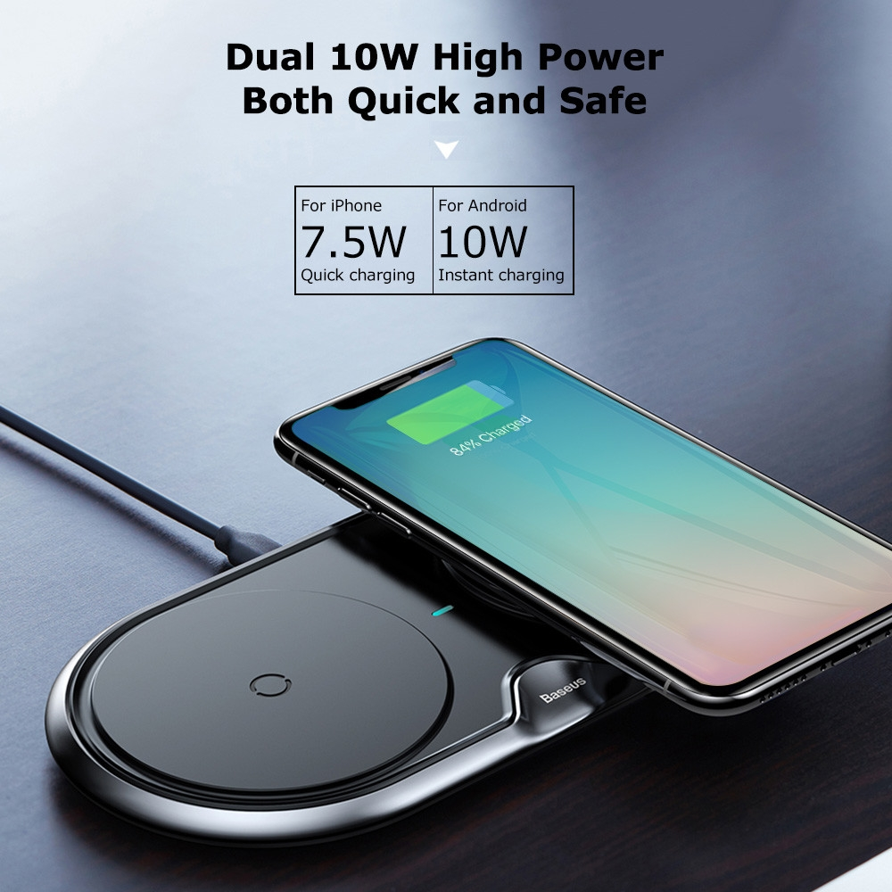Baseus Silicone Dual Bases Wireless Charger  Pad 10W