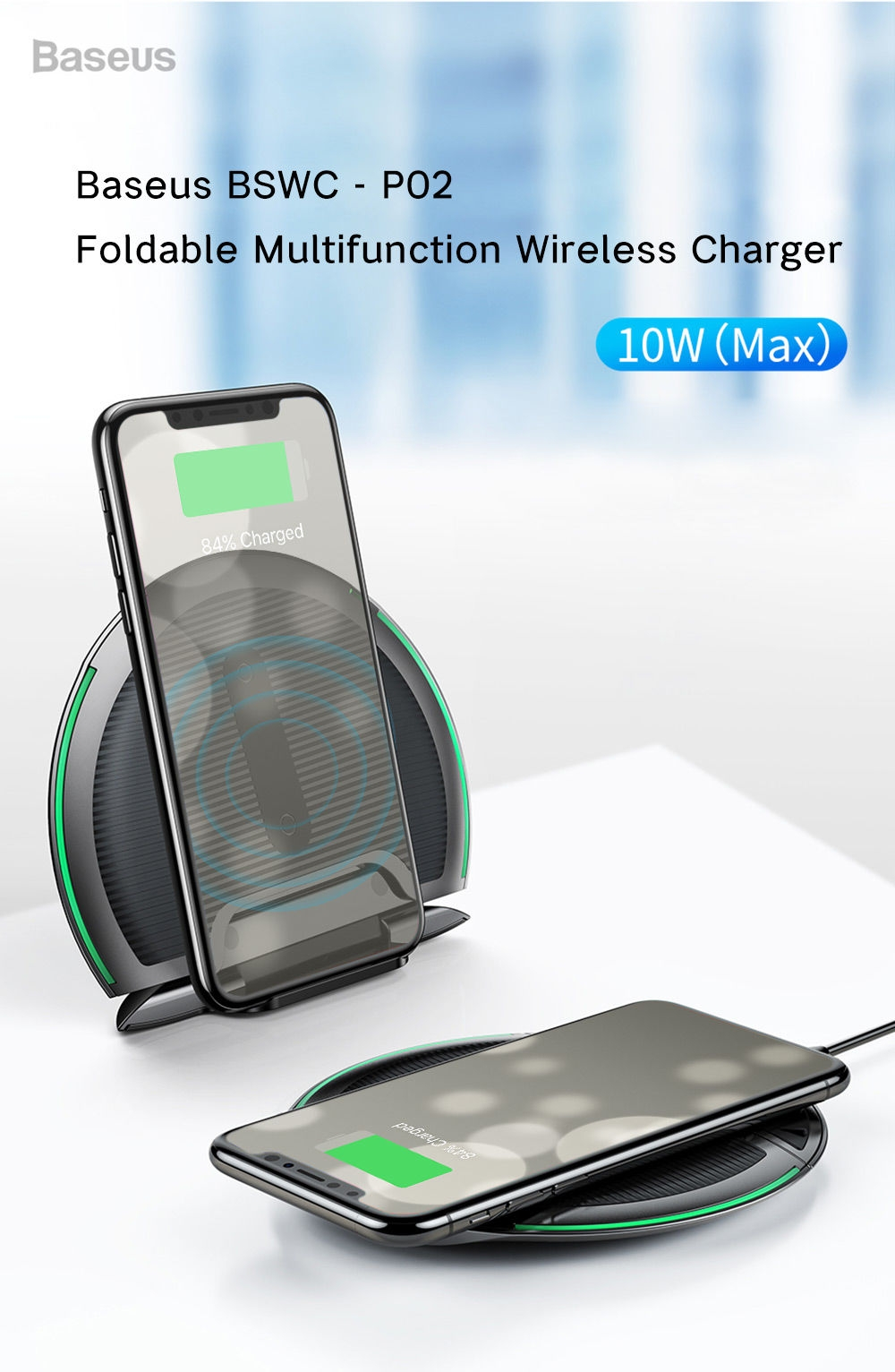 Baseus BSWC - P02 Foldable Multifunction Wireless Charger 10W Silica Gel