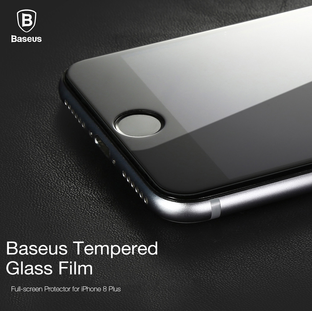 Baseus Silk-screen Tempered Glass Film Full-screen Shatterproof Protector for iPhone 8 Plus 0.2mm