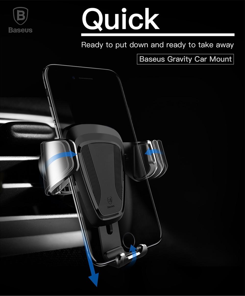Baseus Gravity Air Vent Car Mount 360 Degree Rotation Phone Holder Cradle