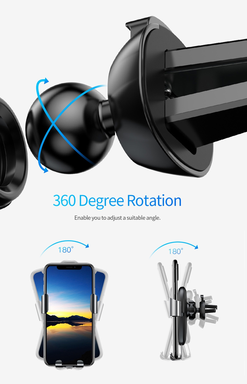 Baseus Metal Wireless Charger Gravity Car Mount 10W for 4 - 6.5 inch Mobile Phones
