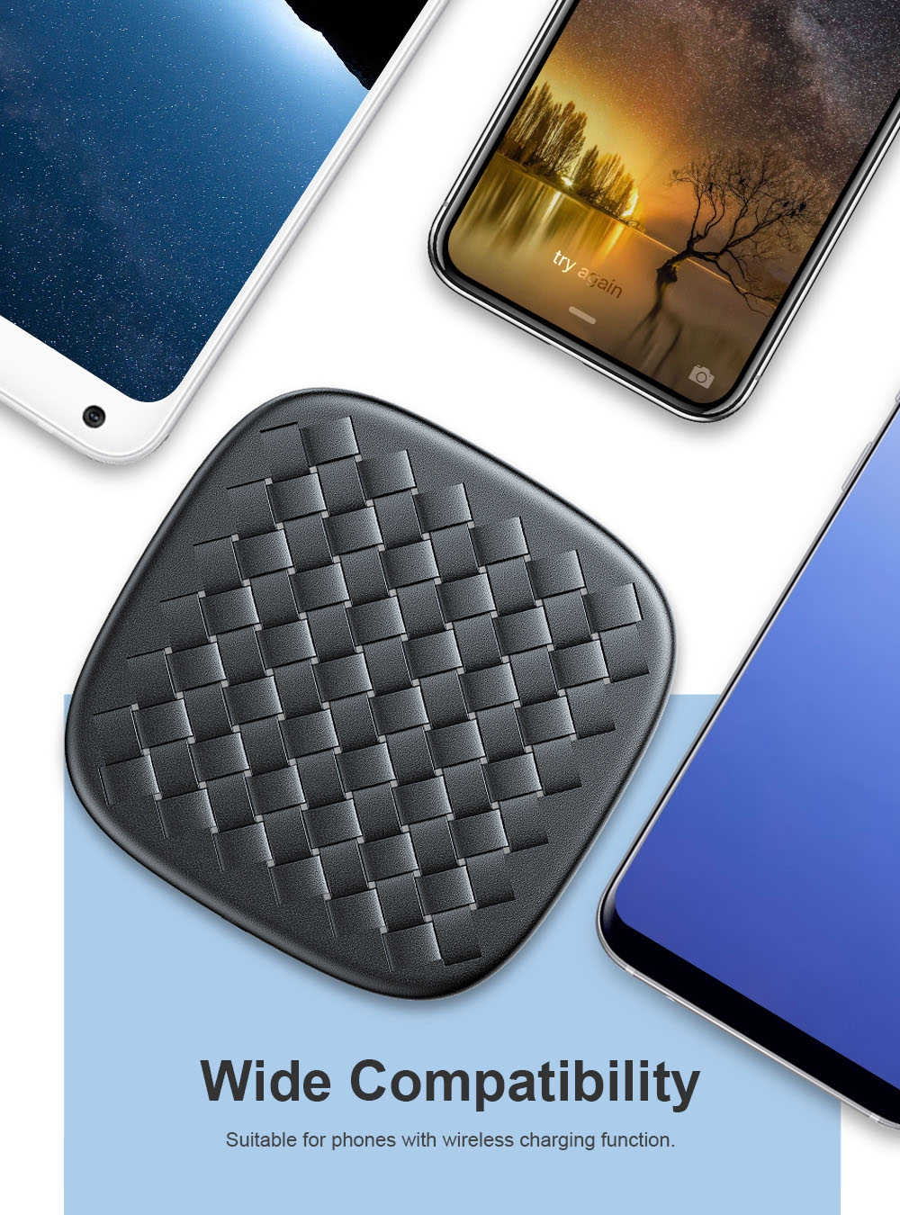 Baseus BSWC - P13 Fast Wireless Charger Woven Leather Charging Pad 10W