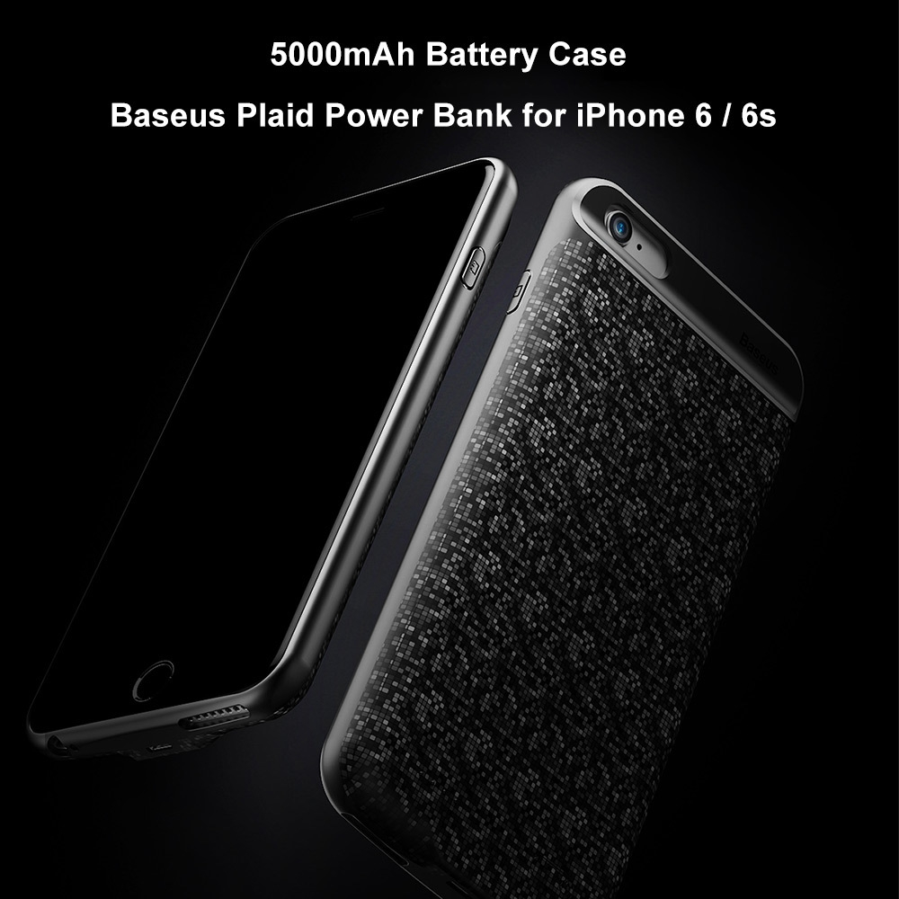 Baseus Plaid Backpack 5000mAh Power Bank Portable Charger Battery Case for iPhone 6 / 6s