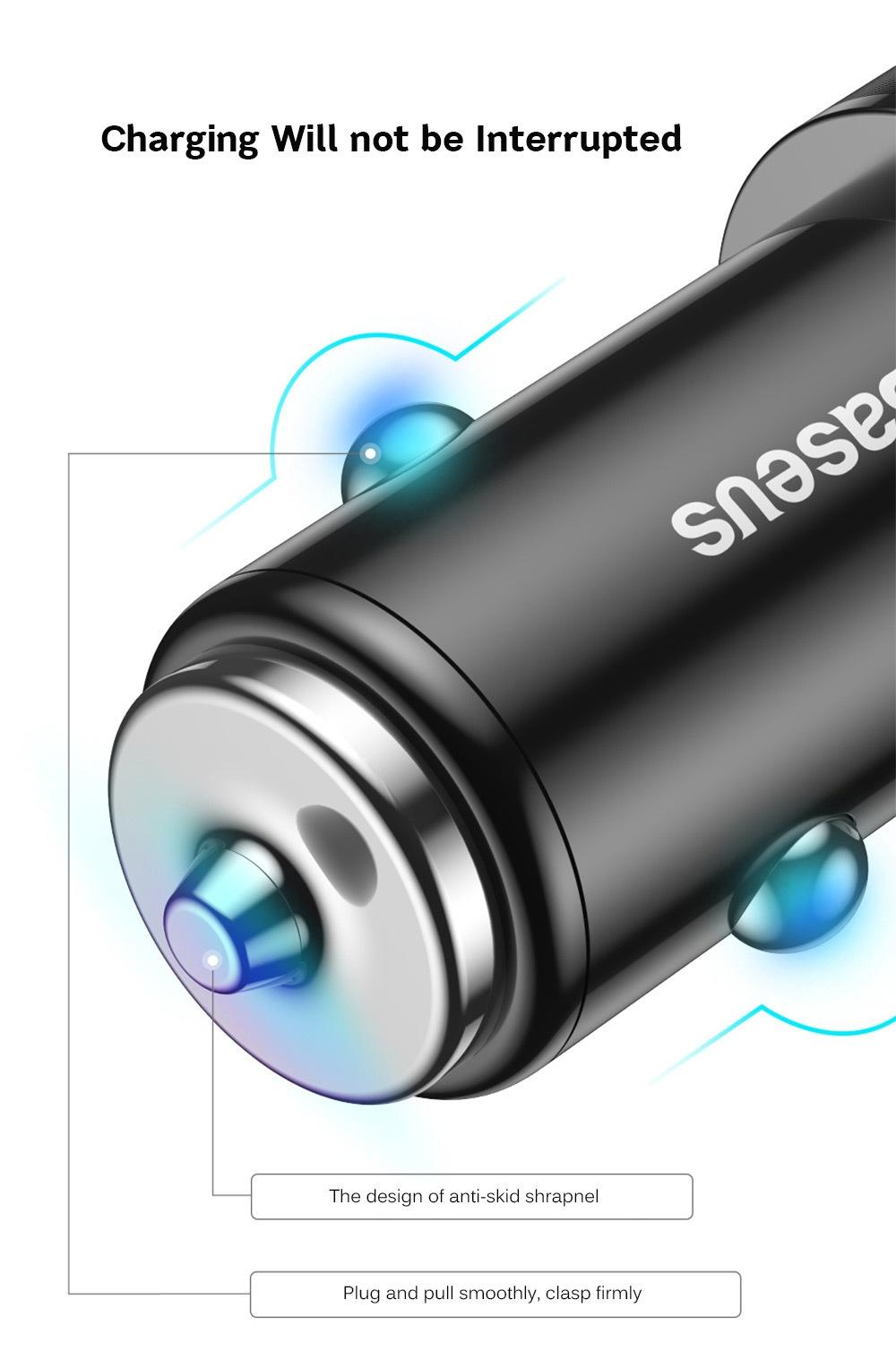 Baseus BSC - C15N Small Screw 3.4A Dual USB Car Charger Aluminium Alloy