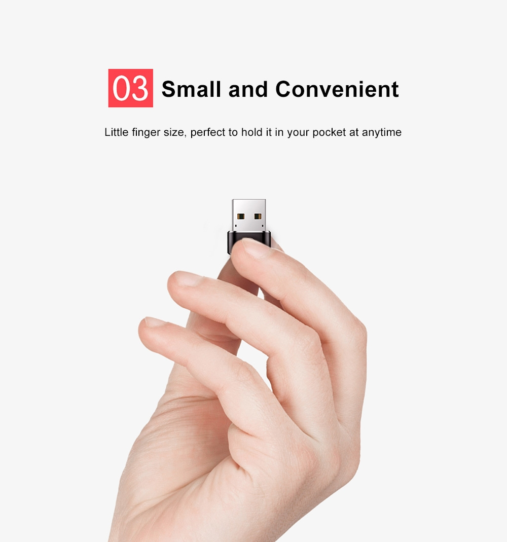 Baseus Mini Male USB to Female Type-C Converter Charging Data Adapter