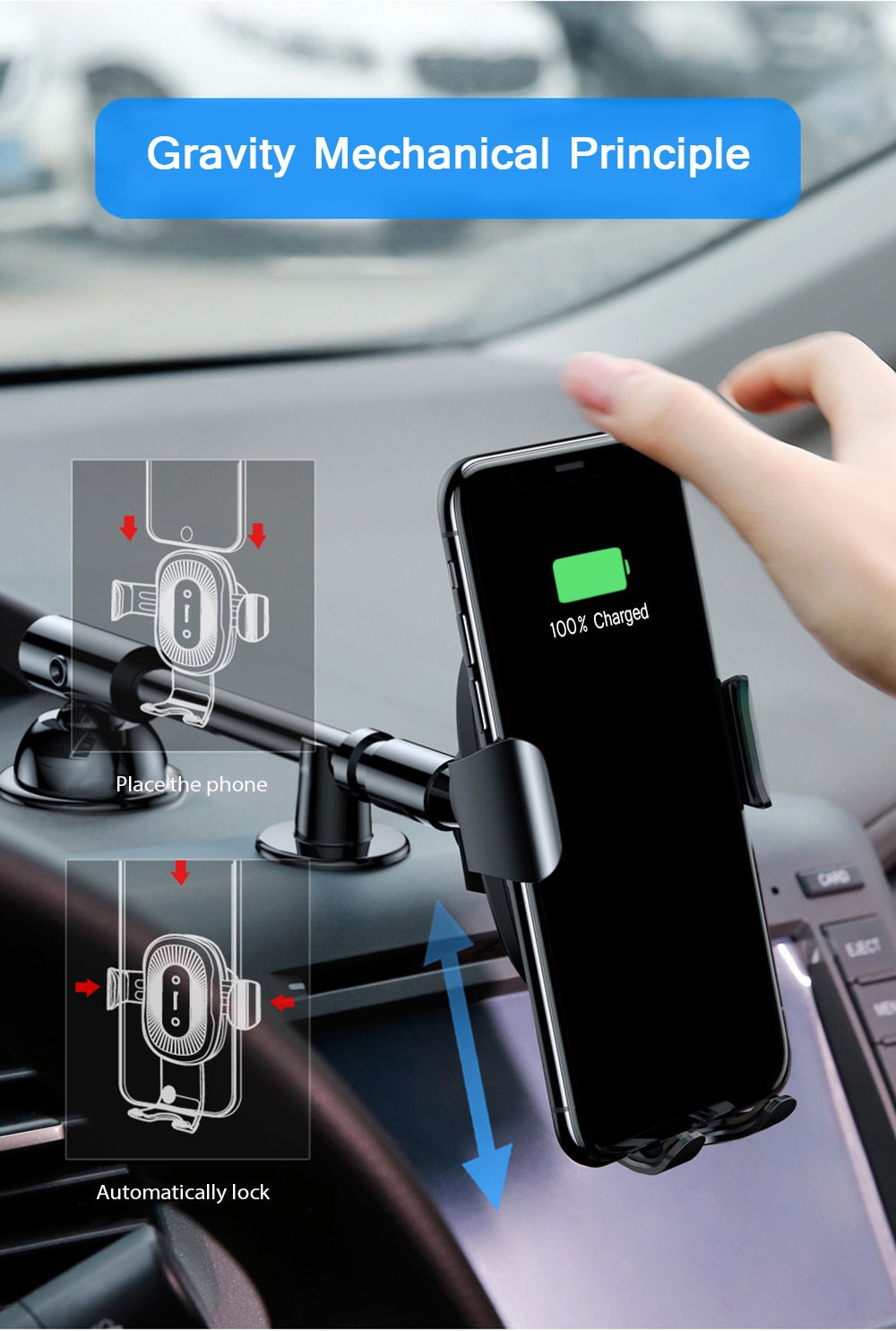 Baseus Fast Wireless Charger Stickup Gravity Car Mount 10W PC Silicone