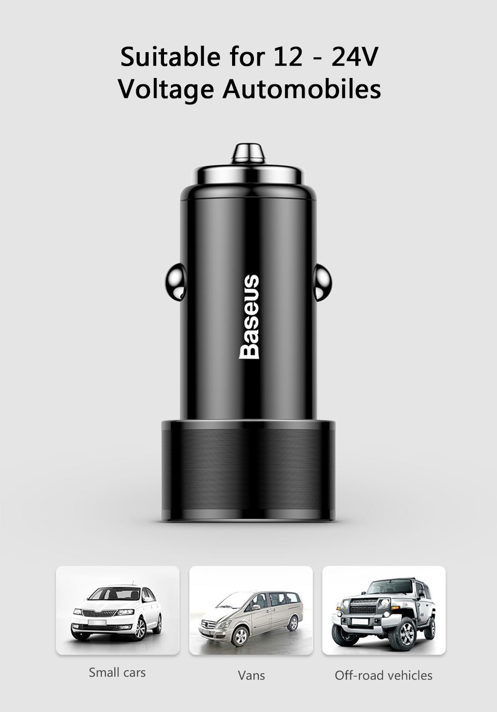 Baseus Small Screw Charging Set Dual USB Car Charger + USB to Type-C Cable Black 1M
