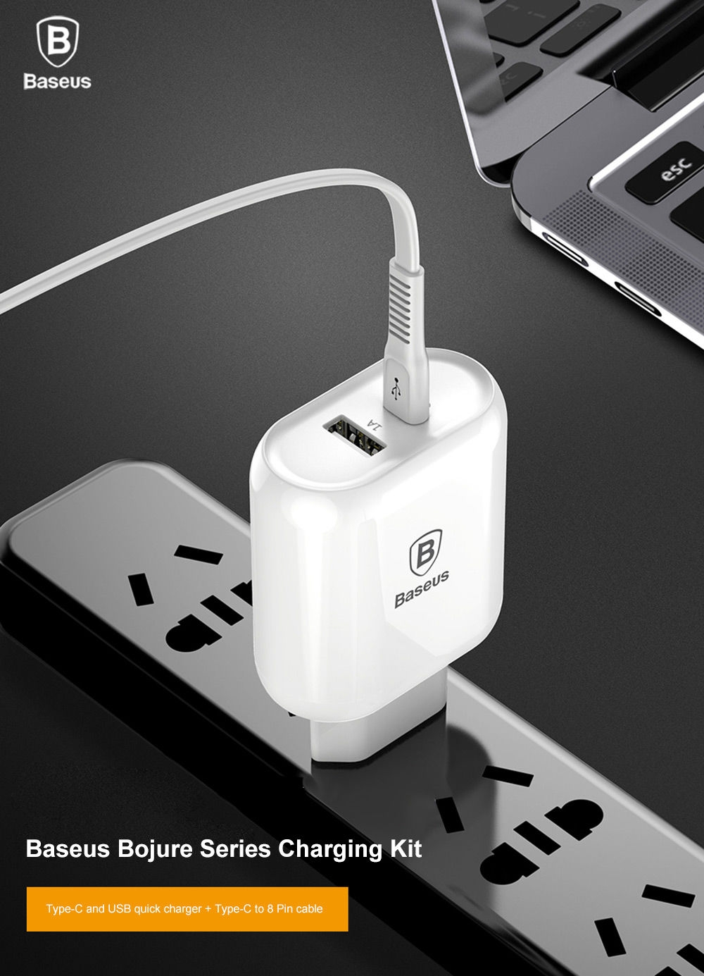 Baseus Bojure Series Charging Set 32W Type-C PD3.0 and USB Quick Charger + Type-C to 8 Pin Cable