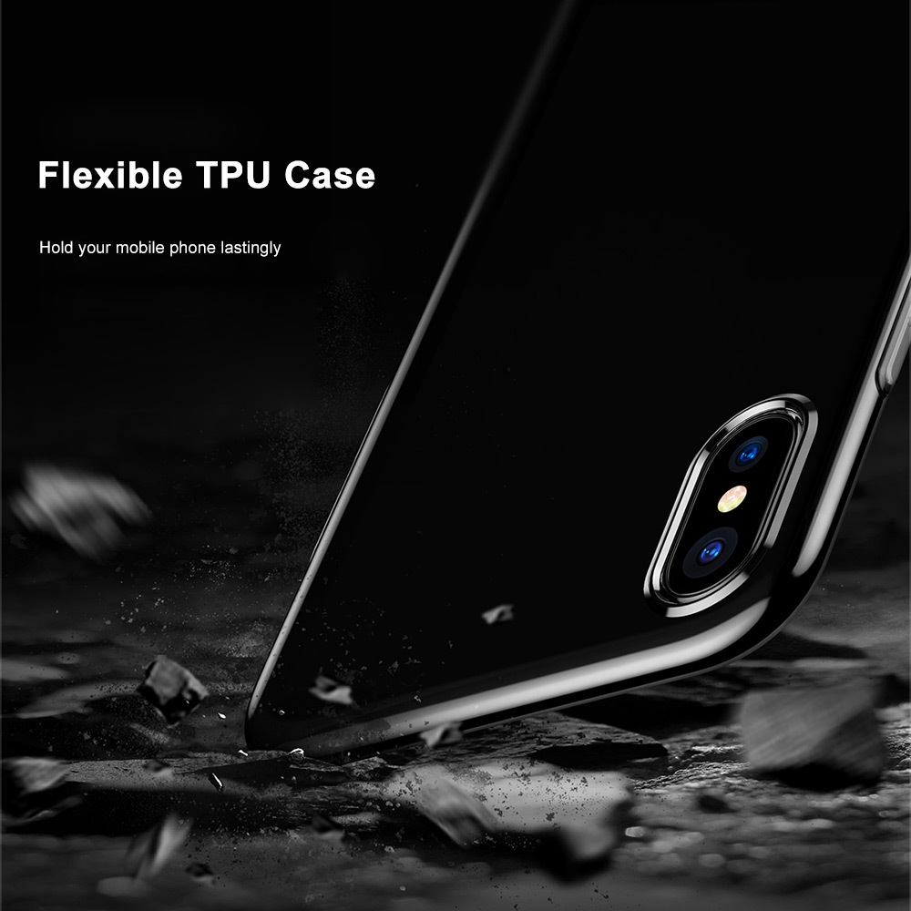 Baseus Simple Series Pluggy Case Clear TPU Protective Back Cover for iPhone X