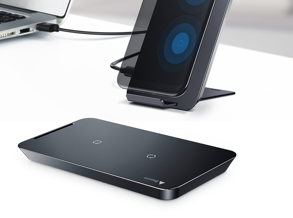 wic1 qi wireless charging pad dual coil charger desktop. Black Bedroom Furniture Sets. Home Design Ideas