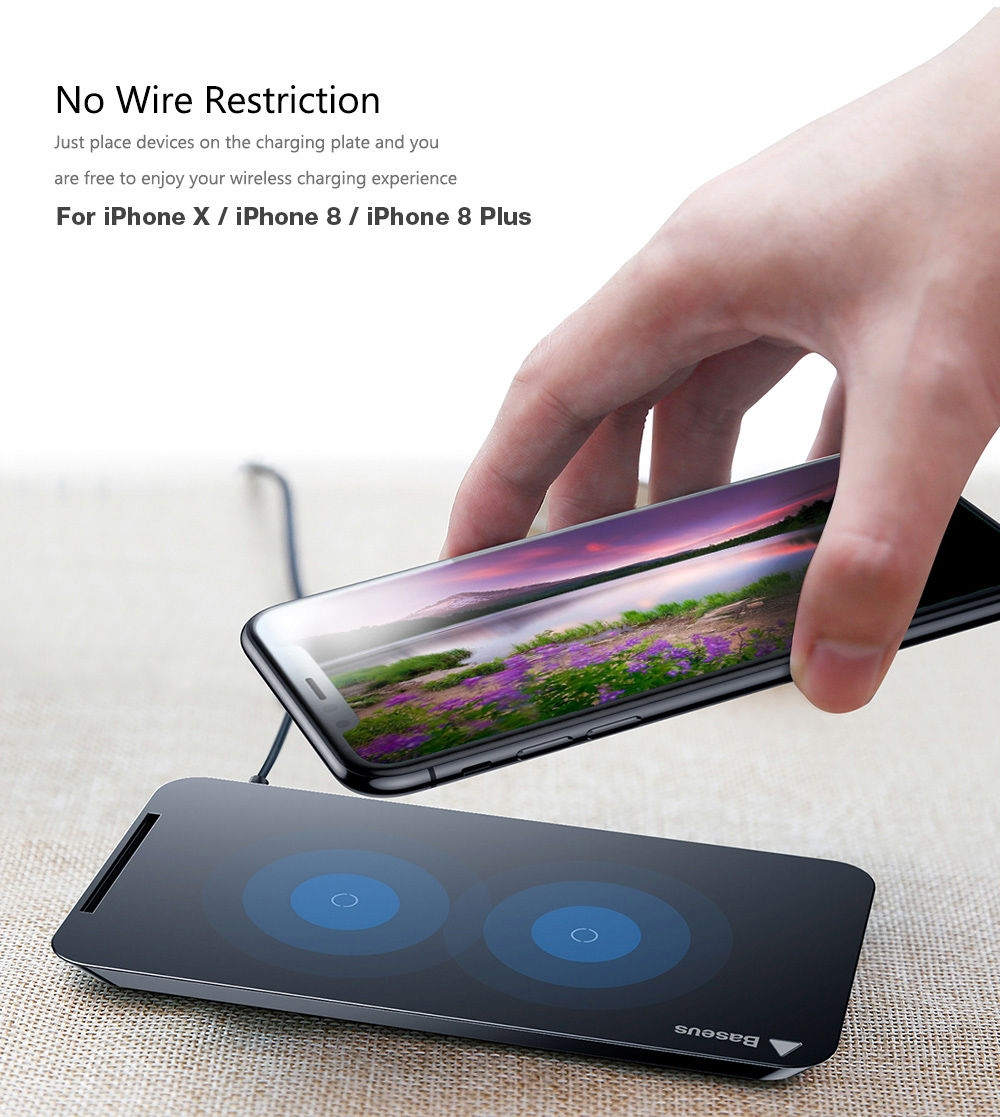 buy baseus wic1 qi wireless charging pad dual coil charger desktop holder for iphone x. Black Bedroom Furniture Sets. Home Design Ideas