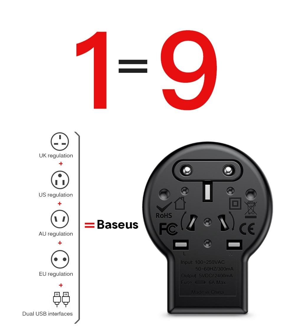 Baseus Multi-functional Dual USB 6A Conversion Socket with Rotatable EU / UK / US / AU Plug