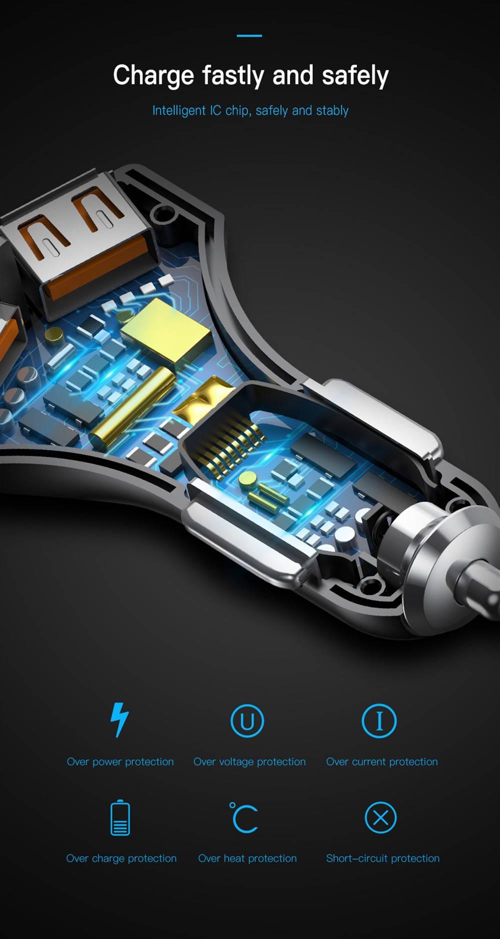 Baseus QC 3.0 True Dual USB Ports Quick Car Charger LED Indicator