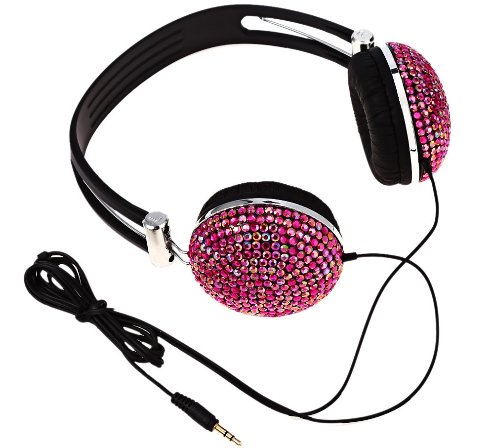 Anti-noise Music Headphone with Artificial Crystal Rhinestone Bling