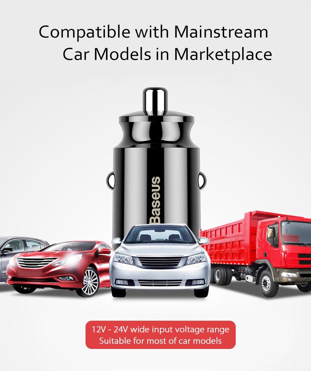Baseus C8 - K Grain Fast Car Charger Small Dual USB Output 3.1A