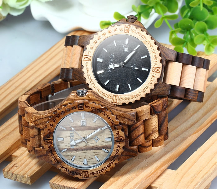 ZS - W023A Men Wooden Bangle Quartz Watch with Calendar Display Wristwatch