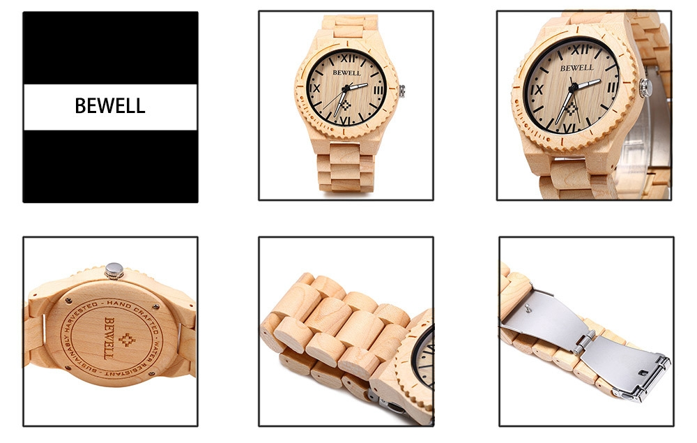 BEWELL ZS - W065A Wood Men Quartz Watch Roman Numeral Scales Wristwatch