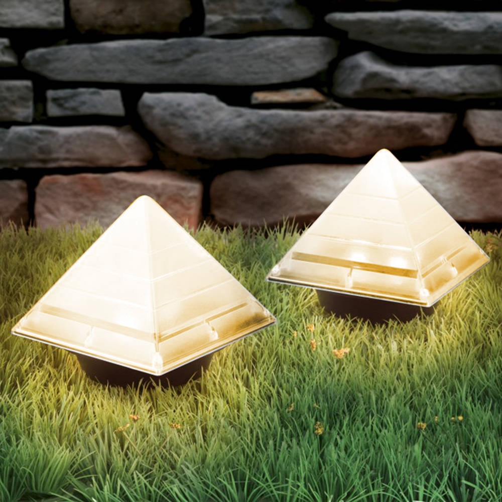 BRELONG Sensor Solar Ground Lights Pyramid Shaped Underground Buried Light Outdoor Garden Lawn Path Lamp 1PC