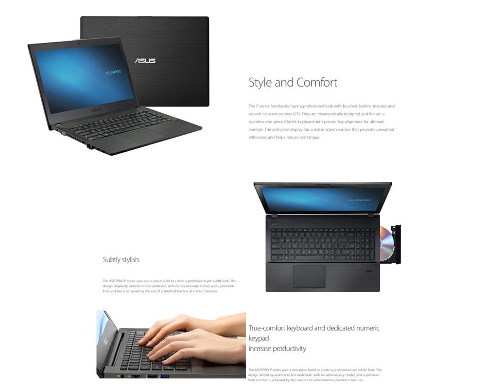 ASUS P2440UQ7500 Notebook 14.0 inch Windows 10 Pro Intel i7-7500U Dual Core 2.7GHz 4GB RAM 1TB HDD Fingerprint Recognition HDMI Front Camera Bluetooth 4.1