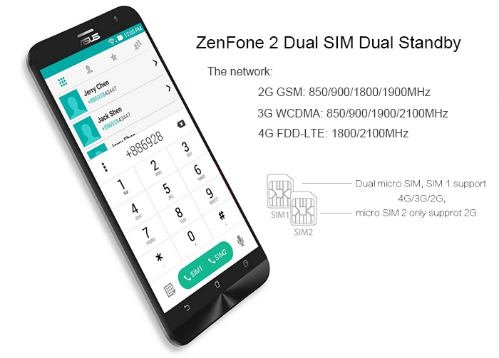 refurbish ASUS ZenFone 2 (ZE551ML) 2GB RAM 16GB ROM Android 5.0 4G 5.5 inch Phablet FHD Screen Intel 64bit Z3560 Quad Core 1.8 GHz 13MP + 5MP Dual Cameras