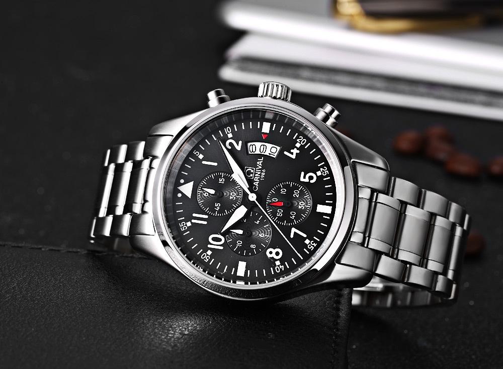 CARNIVAL 8592G Male Quartz Watch Date 3ATM Sapphire Mirror Wristwatch