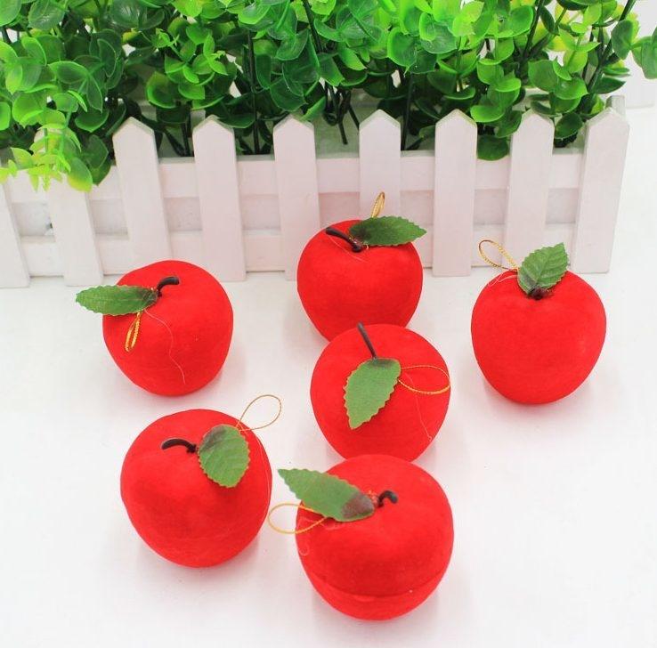 12 Pcs Apple Christmas Tree Ornaments - Red Felt Apple Decor
