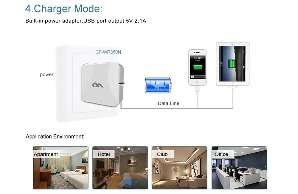 Comfast CF - WR350N WiFi Repeater Signal Wireless 300mbps Network Router Expander with Cell Phone Charger