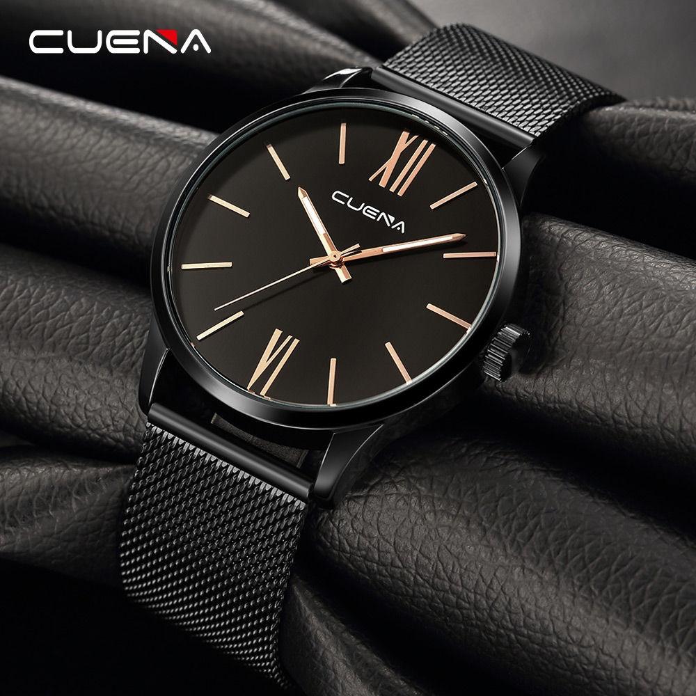 CUENA 6642G Men Stainless Steel Band Quartz Watch for Men