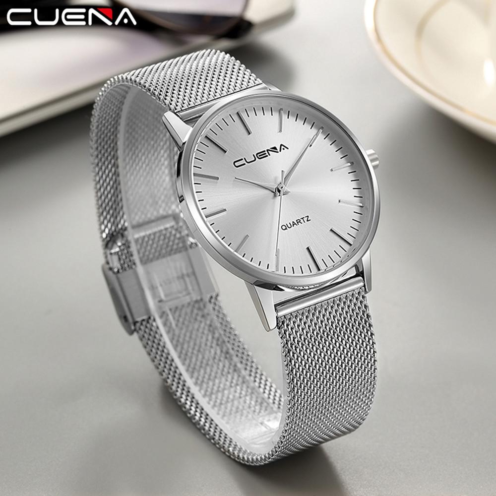 CUENA 6633G Men Fashion Stainless Steel Watchband Waterproof Quartz Wristwatch