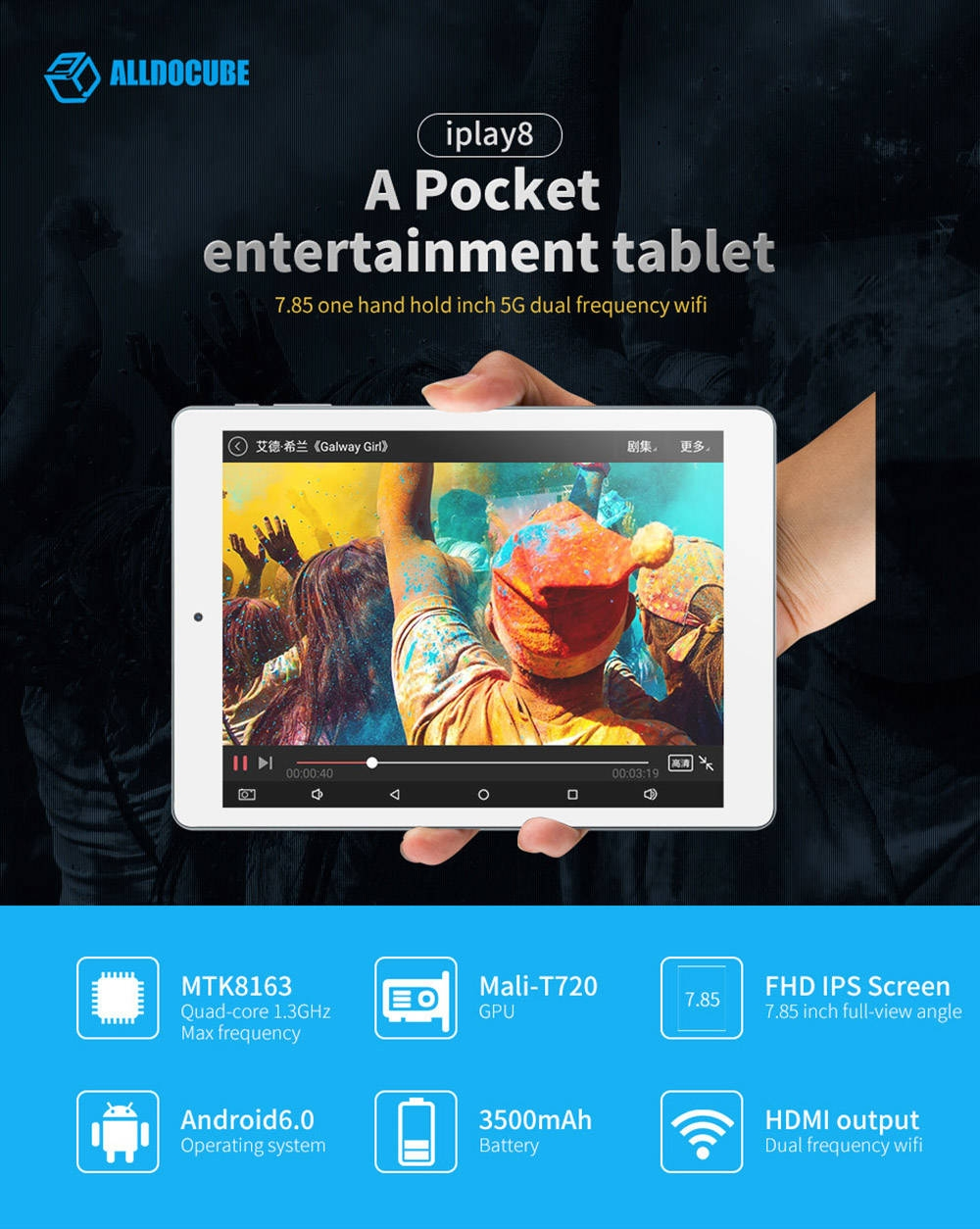 Cube iPlay 8 Tablet PC 7.85 inch Android 6.0 MTK8163 Quad Core 1.3GHz 1GB RAM 16GB ROM Dual WiFi OTG Cameras