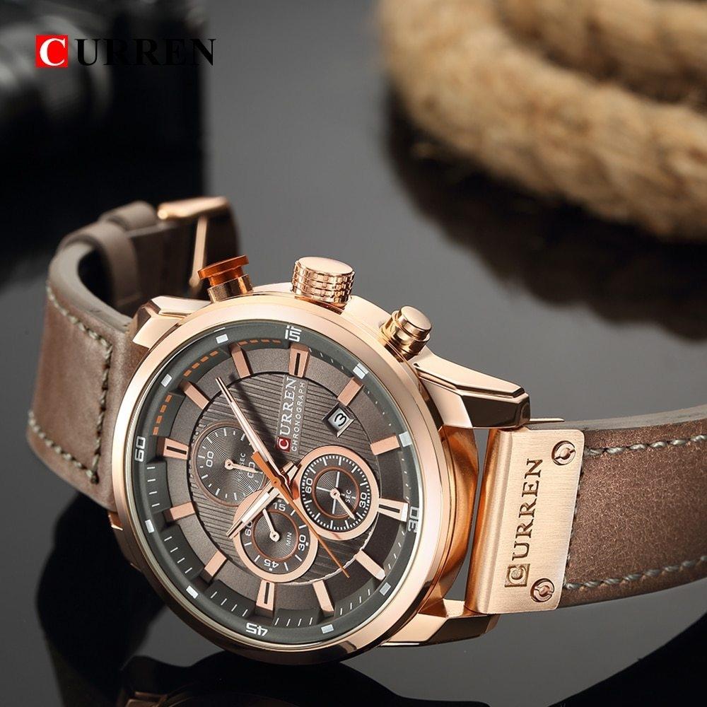 CURREN CURREN 8291 Luxury Brand Men Analog Digital Leather