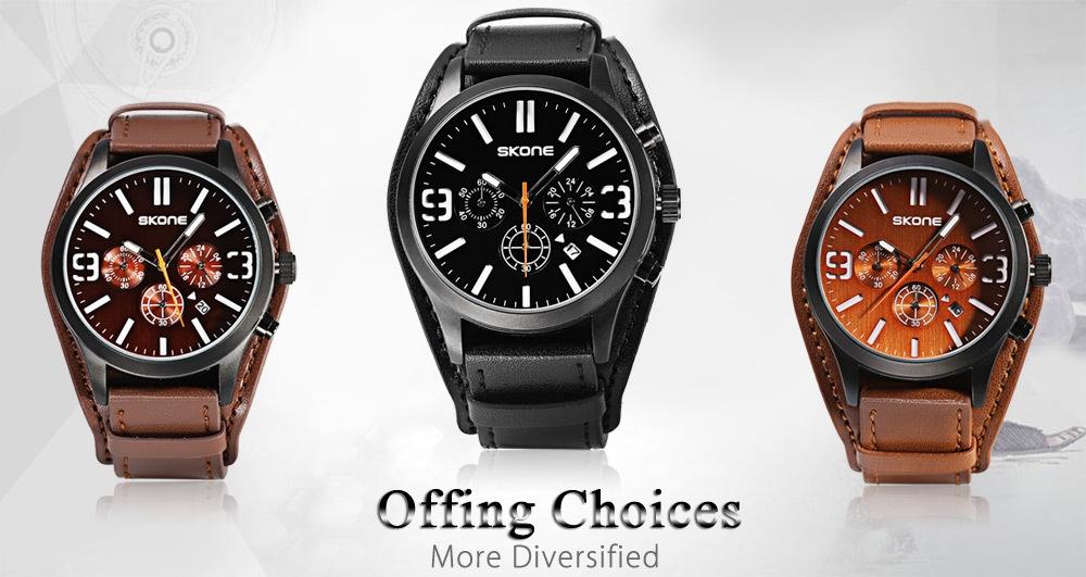 SKONE 9449EG Male Quartz Watch 24 Hours System Stopwatch Luminous Wristwatch