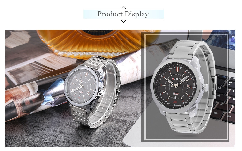 CURREN 8266 Male Quartz Watch Dual Date Display 3ATM Wristwatch