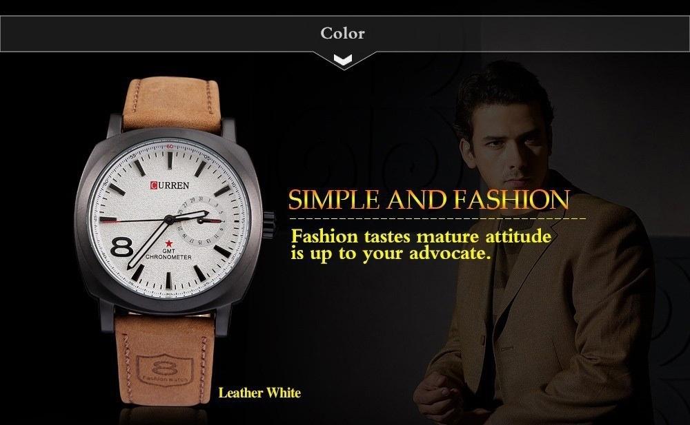 Men Fashion Casual Unisex Wristwatch Sport Quartz Watch Business Watch white 28cm 10
