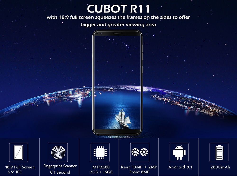 CUBOT R11 3G Phablet 5.5 inch Android 8.1 MTK6580 1.3GHz Quad Core 2GB RAM 16GB ROM Dual Rear Cameras Fingerprint Recognition