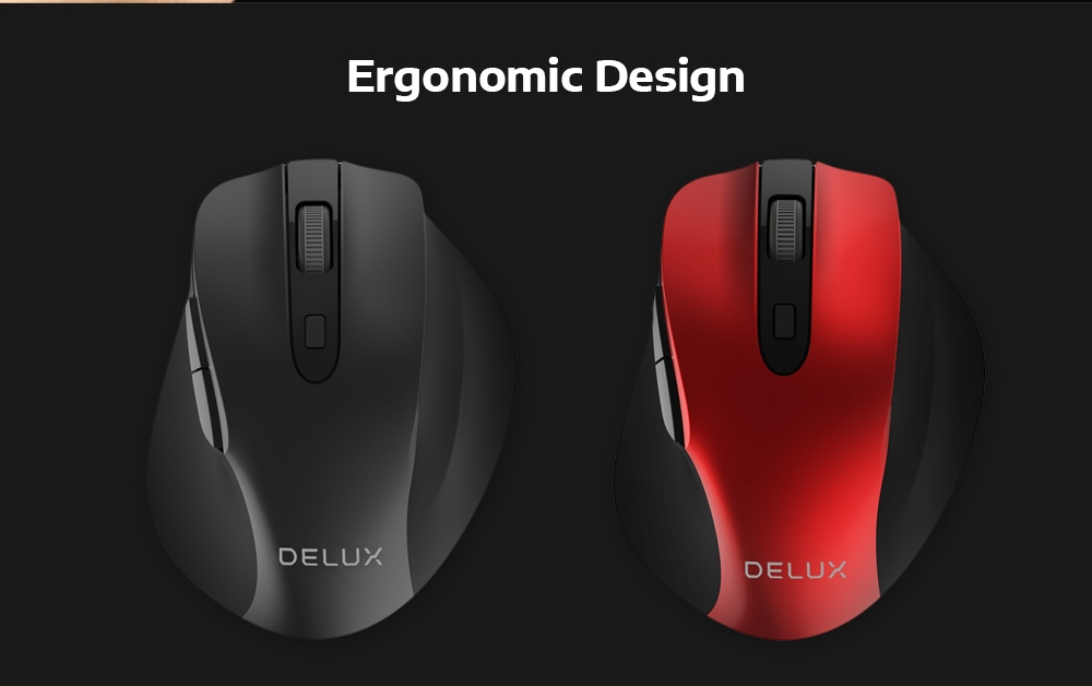 Delux M517GX 2.4GHz Wireless Optical Mouse Adjustable DPI for Office Game