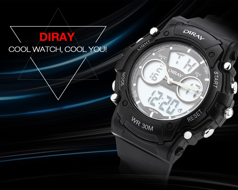 DIRAY DR - 330AD Children Dual Movt Sports Watch Calendar LED Display Chronograph Alarm 3ATM Wristwatch